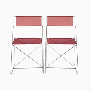 X-Line Metal Chromed and Lacquered Chairs by Niels Jørgen Haugesen for Bent Krogh, Denmark, 1980s, Set of 2