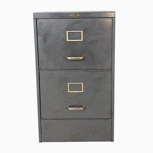 2-Schubladen Vintage Metall Aktenschrank aus gebürstetem Stahl