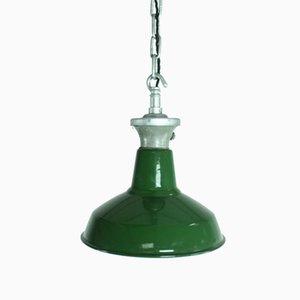 Grüne Emaillierte Vintage Industrie Hängelampe