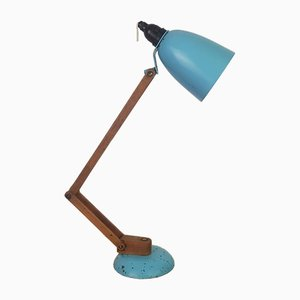Vintage Turquoise Maclamp Table Lamp with Wooden Arms