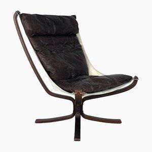 Chaise à Dossier Haut Falcon Vintage en Cuir Marron Marron par Sigurd Resell