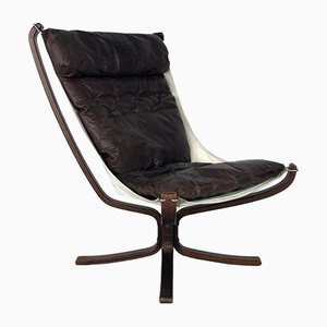 Vintage Chestnut Brown Leather High Backed Falcon Chair by Sigurd Resell