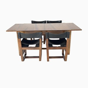 Rosewood Dining Table and Leather Chairs by Gunther Hoffstead for Uniflex, 1960s