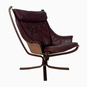 Vintage Winged Leather High Backed Falcon Chair by Sigurd Resell