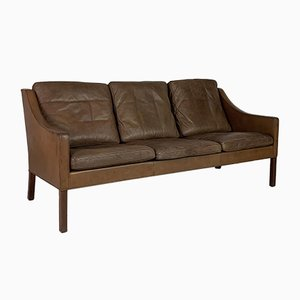 Model 2209 3-Seater Brown Leather Sofa by Børge Mogensen for Fredericia