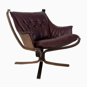 Vintage Winged Leather Low Back Falcon Chair by Sigurd Resell