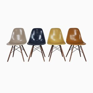 DSW Side Chairs in Ochre and Navy Blue by Charles Eames for Herman Miller, Set of 4