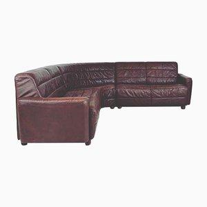 Brown Leather Corner Sofa, 1970s