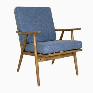 Mid-Century Teak Armchair with Blue Upholstery