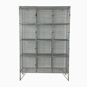 Vintage Wire Mesh Shoe Locker with Pigeon Holes & 12 Compartments