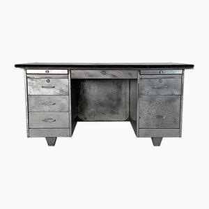 Mid-Century Schreibtisch aus Poliertem Stahl mit Doppelsäule