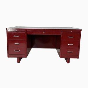 Vintage Double Pedestal Red Painted Steel Desk
