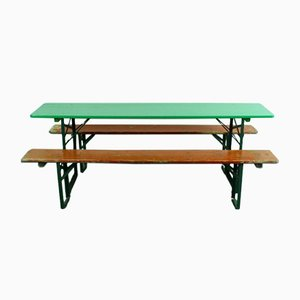 Vintage German Painted Beer Table and Benches