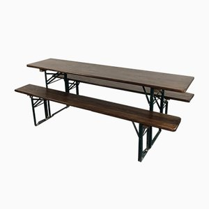 Vintage German Oak Beer Table and Benches