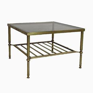Table Basse Vintage en Laiton et Verre