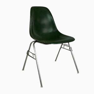 DSS Chair in Dark Olive on Original Stacking Base by Charles Eames for Herman Miller