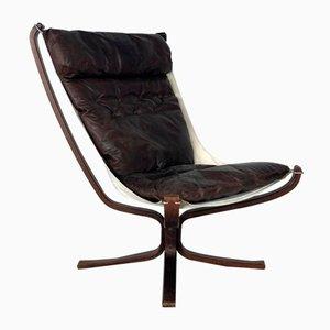 Dunkelbrauner Vintage Leder Falcon Chair mit hoher Rückenlehne von Sigurd Resell