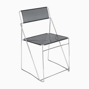 Verchromte und lackierte X-Line Stuhle von Niels Jørgen Haugesen für Bent Krogh, Denmark, 1980er