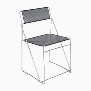 X-Line Metal Chromed and Lacquered Chair by Niels Jørgen Haugesen for Bent Krogh, Denmark, 1980s