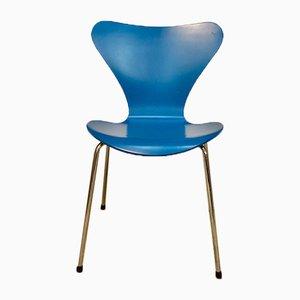 Sedia da pranzo 3107 impiallacciata blu serie 7 di Arne Jacobsen per Fritz Hansen, Danimarca, 1955