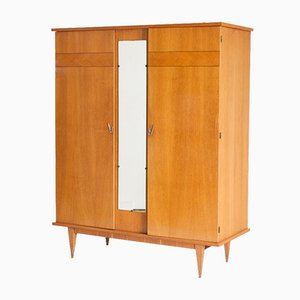 Armari Oak Two Doors Wardrobe with Central Mirror, France, 1960s