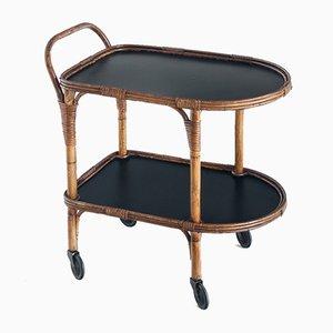 Vintage Rattan Table, France, 1960s