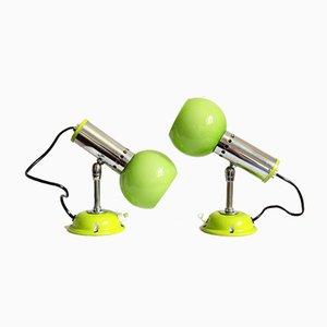 Lampes Murales ou de Table Space Age Verts Occhi Verdi, Italie, 1960s, Set de 2