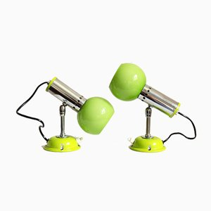 Space Age Green Glass Occhi Verdi Wall or Table Lamps, Italy, 1960s, Set of 2