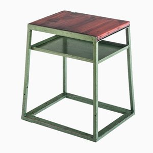 Industrial Auxiliary Iron and Pine Wood Workshop Table, Spain, 1970s
