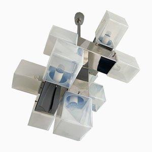 Italian Metal & Murano Glass Cube Chandelier from Mazzega, 1970s