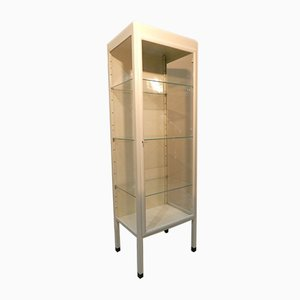 Medical Enameled Iron and Glass Cabinet with 3 Shelves, Italy, 1930s