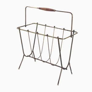 Brass and Wood Magazine Rack, France, 1950s
