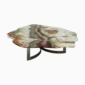 French Coffee Table with Pakistani Onyx Top and Steel Base, 1960s