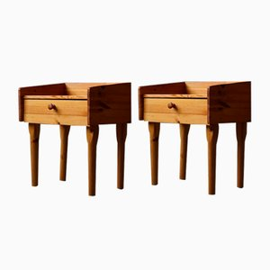 Mid-Century Danish Nightstands with Drawers in Solid Pine, 1970s, Set of 2