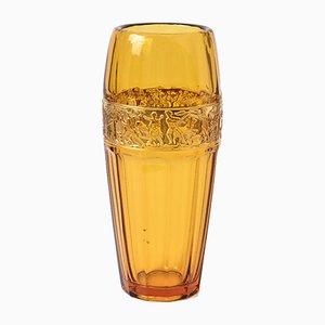 Vintage Bernsteingelbe Glasierte Fries Vase von Walther Glas