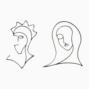 Vintage Bent Steel Flat-Bar Head Sculptures, 1980s, Set of 2