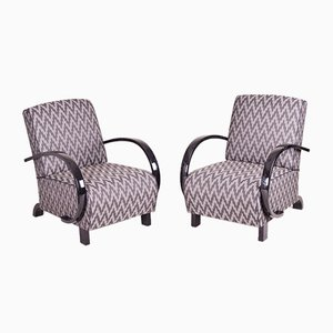 Art Deco Fabric and High-Gloss Lacquer Armchairs, 1930s, Set of 2