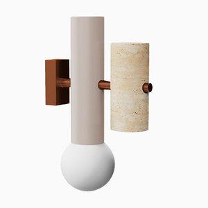 Lampada da parete Pyppe in ottone Art Déco tubolare e in ottone di Utu Soulful Lighting
