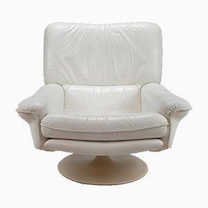 Postmodern White Leather Swivel Lounge Chair, 1980s