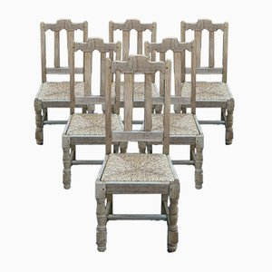 Bleached Oak Farmhouse Dining Chairs, Set of 6