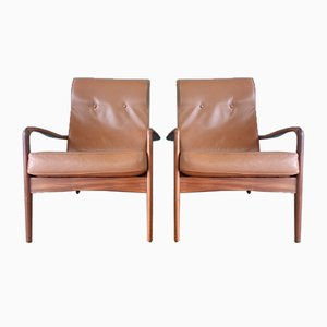 Mid-Century Leather Lounge Chairs from Greaves & Thomas, 1960s, Set of 2