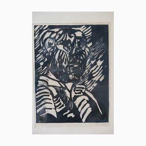 Woodcut Postmoderne par Sven Wiig Larsen, Denmark, 1954
