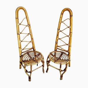 Vintage High Back Chairs in Bamboo & Rattan, Italy, 1960s, Set of 2