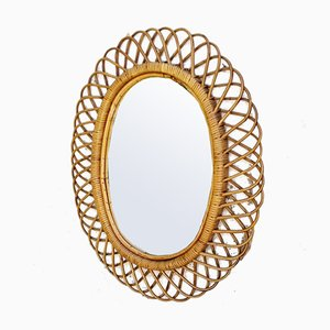 Mid-Century Curved Wicker Oval Wall Mirror by Franco Albini, Italy, 1960s