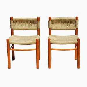 Dordogne Wicker Chairs by Charlotte Perriand for Robert Sentou, 1960s, Set of 4