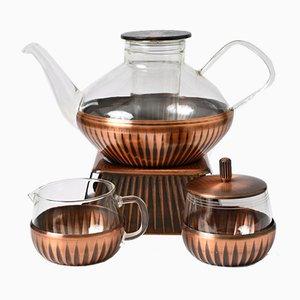 Glass and Copper Tea Set by Heinrich Löffelhardt for Jena Glass Schott & Gen, 1960s, Set of 4