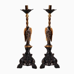 19th Century Bronze Candlesticks, Set of 2