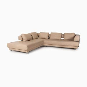 Brand Face Beige Leather Sofa by Ewald Schillig