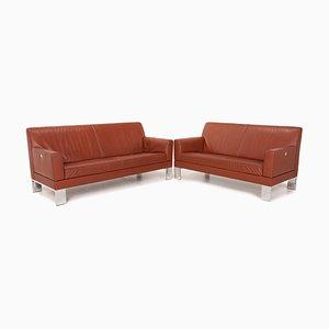 Glove Red Rust Leather Sofa Set from Jori, Set of 2