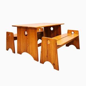 Panche e poggiapiedi Mid-Century in legno di pino di Gilbert Marklund, Svezia, set di 3